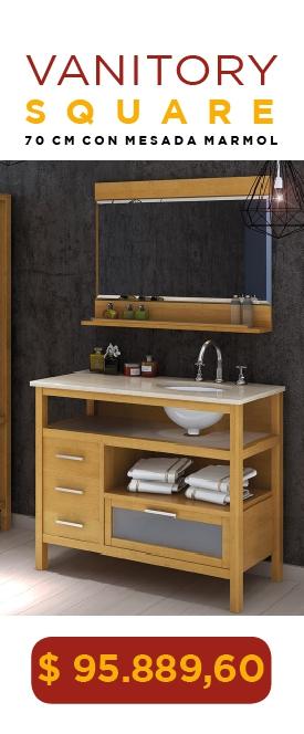 Vanitory Water Van Square 70 Cm Con Mesada Marmol