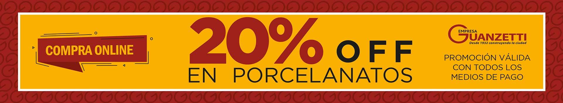 Descuento 20% en porcelanatos
