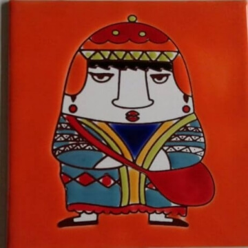 Azulejo Pintado A Mano 15 x 15 Coya Naranja Pared O Piso