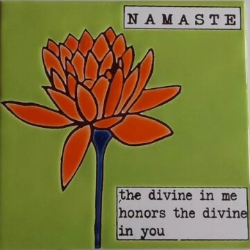 Azulejo Pintado A Mano 15 x 15 cm. Namaste Verde