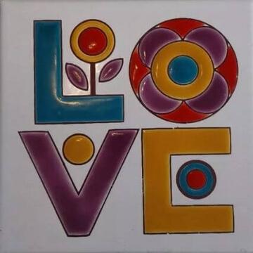 Azulejo Pintado A Mano Love 15 x 15 cm Pared/piso