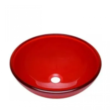 Bacha de apoyo Pringles Vidrio redonda 420x145mm roja