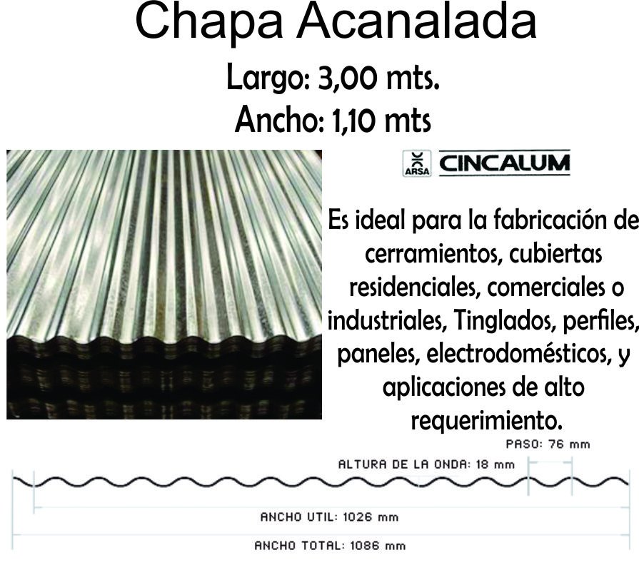 Chapa Cincalum  3 Mts