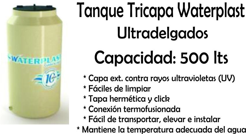 Tanque De Agua Tricapa Ultradelgado 500 Lts Waterplast