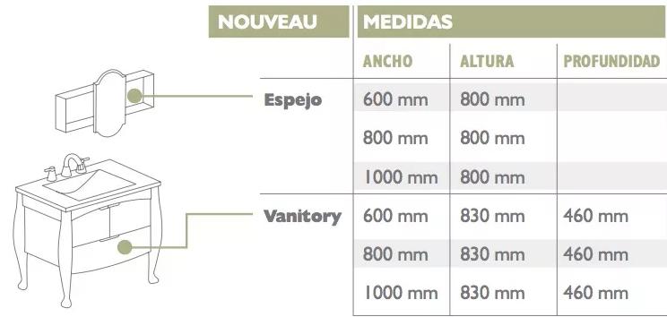 Vanitory Water Van Nouveau 80 Cm Con Mesada Loza Wengue