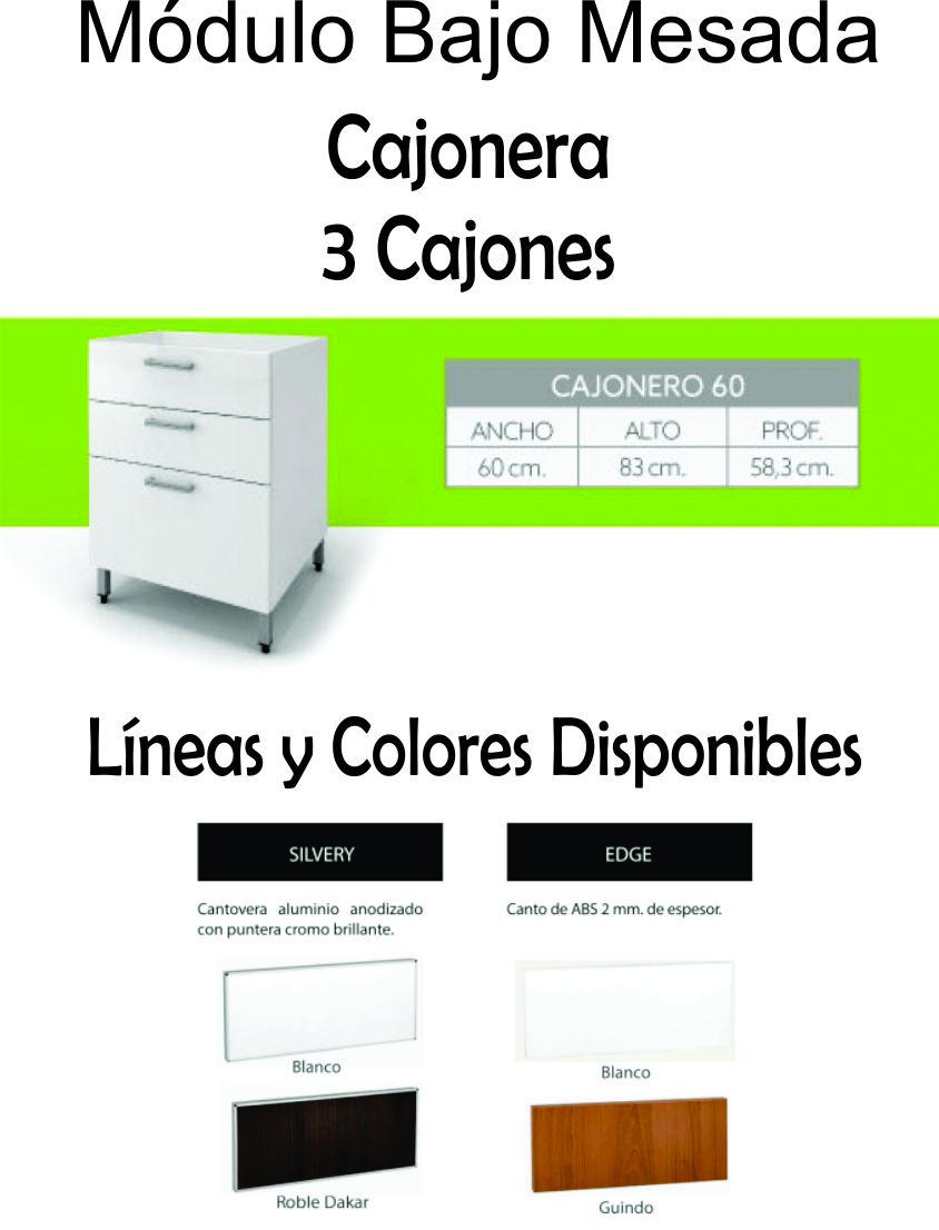 Cajonera Itar Edge 0,60 3 Cajones Blanco