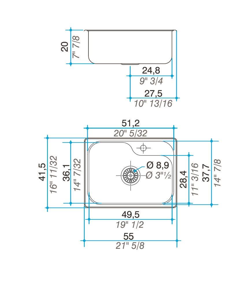 Pileta Acero Inoxidable Johnson Luxor Mini S155 A 55X41,5X20