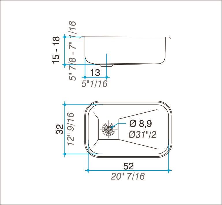 Pileta Acero Inoxidable Johnson Z52 52X32X14,5 Simple