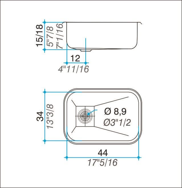 Pileta Acero Inoxidable Johnson E44 44X34X15 Simple