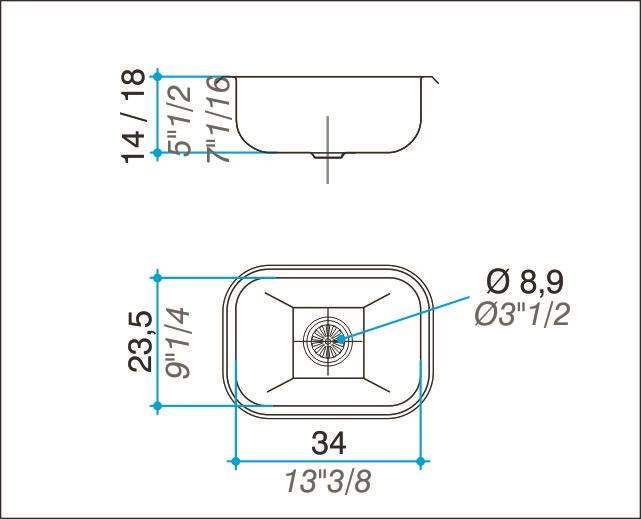 Pileta Acero Inoxidable Johnson T34 34X23.5X14 Simple