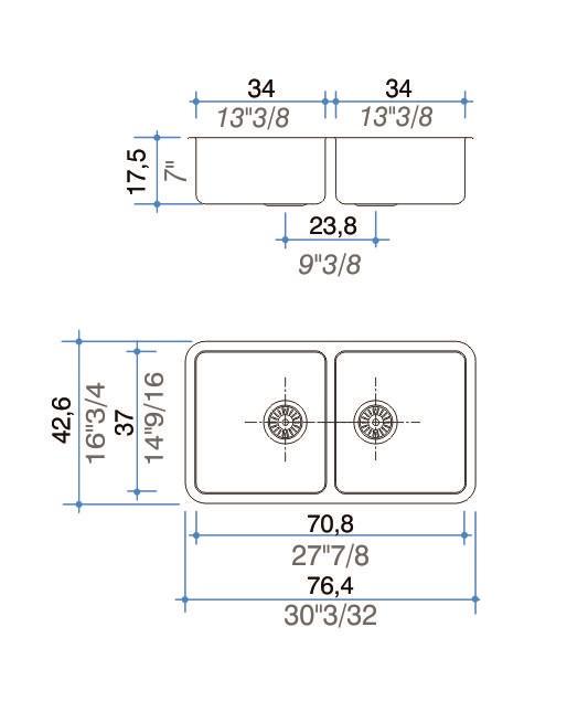 Pileta Acero Inoxidable Johnson Quadra Q 76 70,8X37X17,5