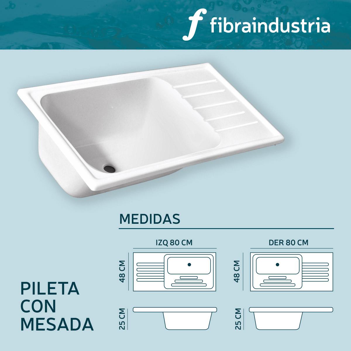 Pileta Marmol Sintetico 80 X 48 Con Mesada Derecha Fibraindustria