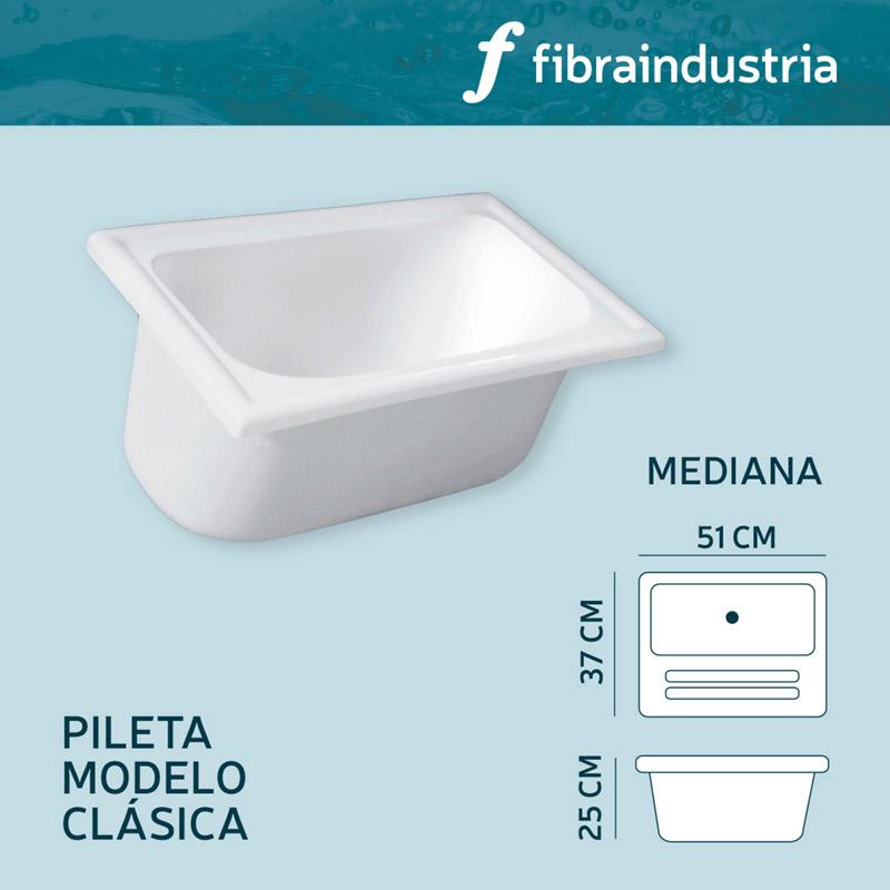 Pileta Fibraindustria Marmol Sintetico 51 X 37 Mediana