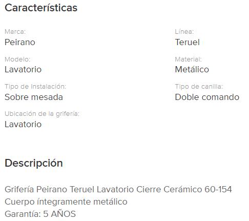 Juego Lavatorio Peirano Teruel Cierre Cerramico 60-154