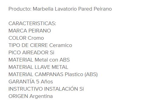 Juego Lavatorio Peirano Marbella 60-121 Cr