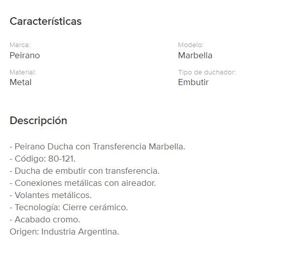 Juego Lluvia Con Transferencia Peirano Marbella 80-121 Cr