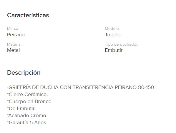 Juego Ducha Con Transferencia Peirano Toledo Cierre Cerramico 80-150