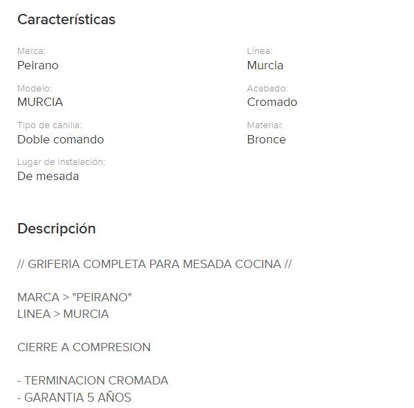 Juego Cocina  Mesada Pico Fundido Peirano Murcia 835 Cr.
