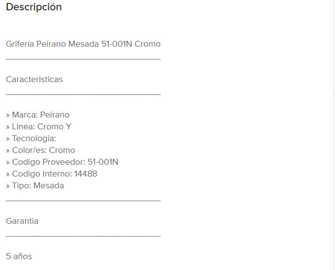 """Juego Cocina  Mesada Peirano Cromo """"Y"""" 51-001N"""