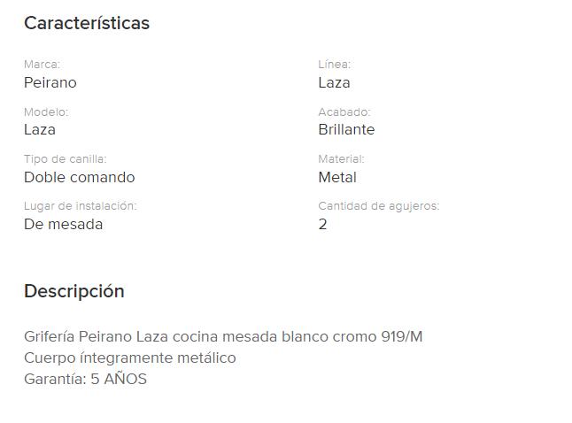 Juego Cocina  Mesada Peirano Laza 919/M Cr.