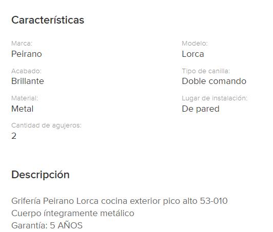 Juego Cocina Pared Exterior Peirano Lorca Pico Alto 53-010 Blanco Cr.