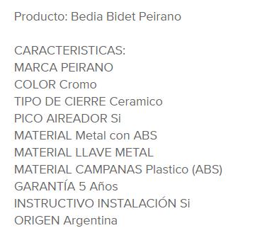 Juego Bidet Peirano Bedia 70-107 Cr