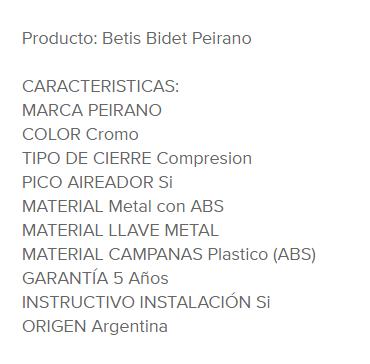 Juego Bidet Peirano Betis 70-034 Cr