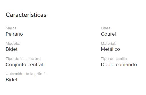 Juego Bidet Peirano Courel Lever 320/L Cr