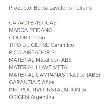 Juego Lavatorio Peirano Bedia 60-107N Cr
