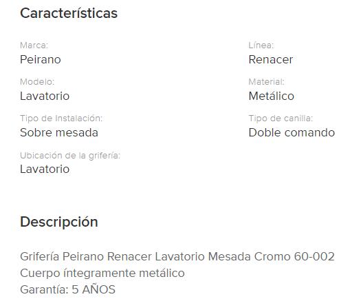 Juego Lavatorio Peirano Renacer 60-002 Cr.