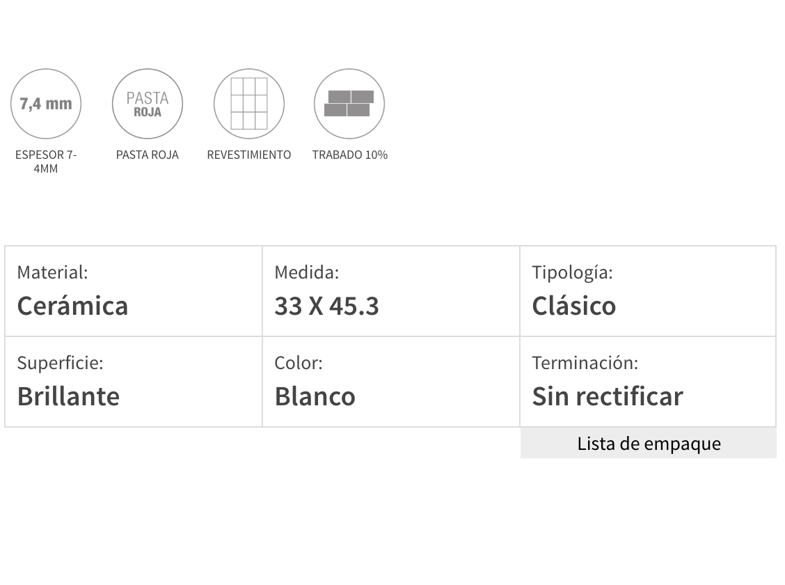 Ceramico San Lorenzo Blanco Perla Brillante 33 X 45,3 Cj 2,09
