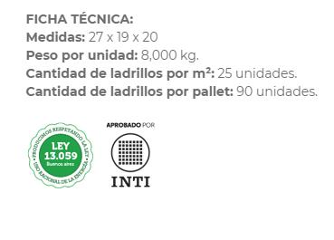 Ladrillo Hueco Ctibor Econoblock 20X19X27 X Unidad