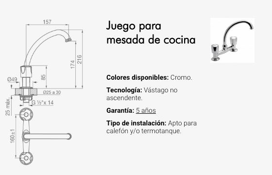 Juego Cocina Fv Pampa Mesada Pico Movil Alto 0413/B6