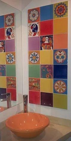Azulejo Pintado A Mano Mandala En Circulo 15 X 15 Cm. Pared O Piso