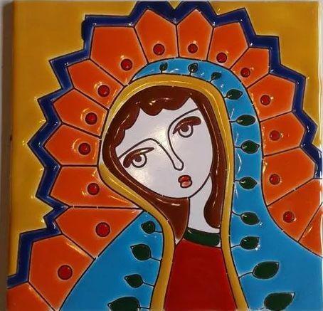 Azulejo Pintado A Mano Virgen Fondo Amarillo 15 X 15 Cm Pared/Piso