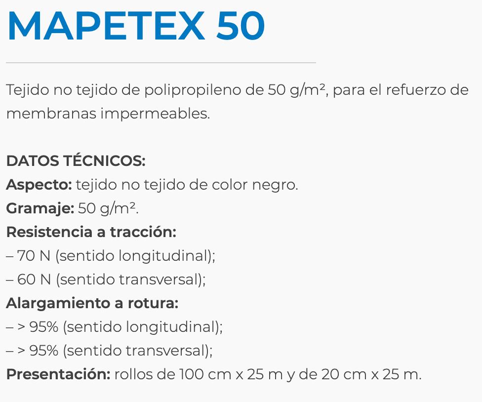 Malla Mapei Mapetex 50 H20 Rollo X 25 M