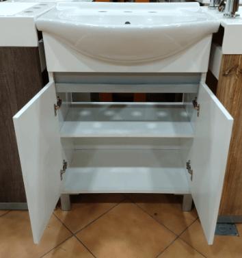 Vanitory 60Cm Blanco Con Mesada Loza Rimini Water Van De Pie