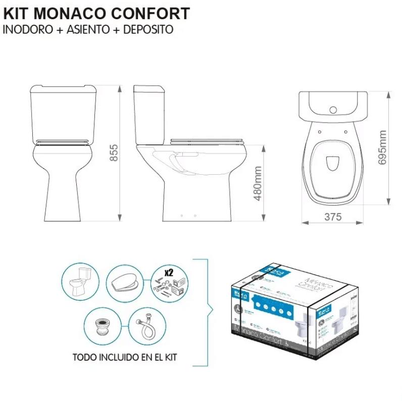 Kit Inodoro Alto Roca Monaco Confort Para Discapacitados