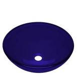 Bacha De Apoyo Pringles Vidrio Redonda 420X145Mm Azul