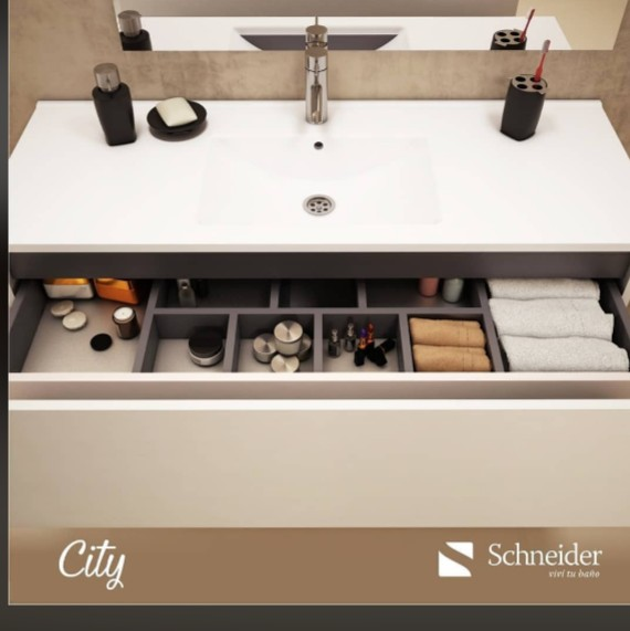 Vanitory Colgante 80 Cm Wengue City PVC NO incluye mesada Schneider