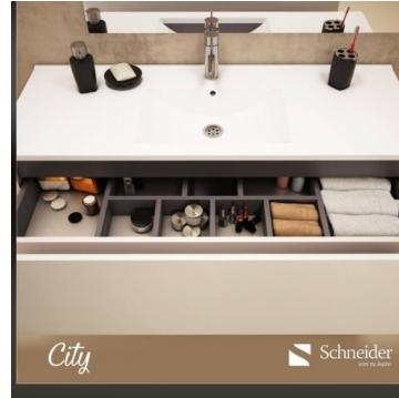 Vanitory Colgante 60 cm Blanco City Pvc Schneider. Incluye Mesada de Losa Monocomando