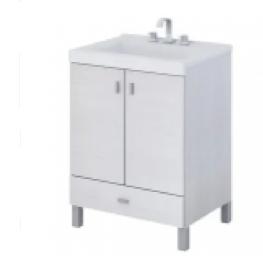 Vanitory 40 Cm Blanco Texturado Terra Basic Schneider. Incluye Mesada Marmolina Monocomando