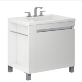 Vanitory 60 Cm Laqueado Blanco Brillante Aqua Schneider. Incluye mesada marmolina 3 agujeros
