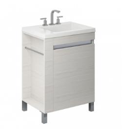 Vanitory 80 Cm Blanco Texturado Aqua Schneider. Incluye mesada marmolina 3 agujeros