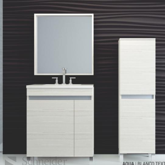 Vanitory 80 Cm Blanco Texturado Aqua Schneider. Incluye mesada marmolina monocomando