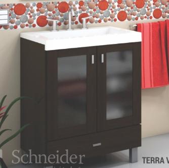 Vanitory 40 cm Blanco Terra Vetro Schneider. Incluye Mesada de Marmolina Monocomando