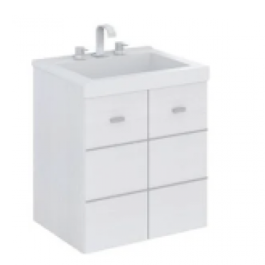 Vanitory 50 cm Blanco Terra Matrix Schneider. Incluye mesada marmolina 3 agujeros