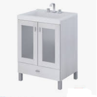 Vanitory 50 Cm Blanco terra Vetro Schneider. Incluye Mesada Marmolina 3 Agujeros