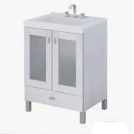 Vanitory 50 Cm Blanco Terra Vetro Schneider. Incluye Mesada Marmolina Monocomando