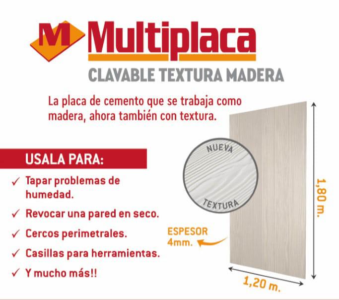 Multiplaca Eternit Textura Madera 1,80X1,20X4Mm